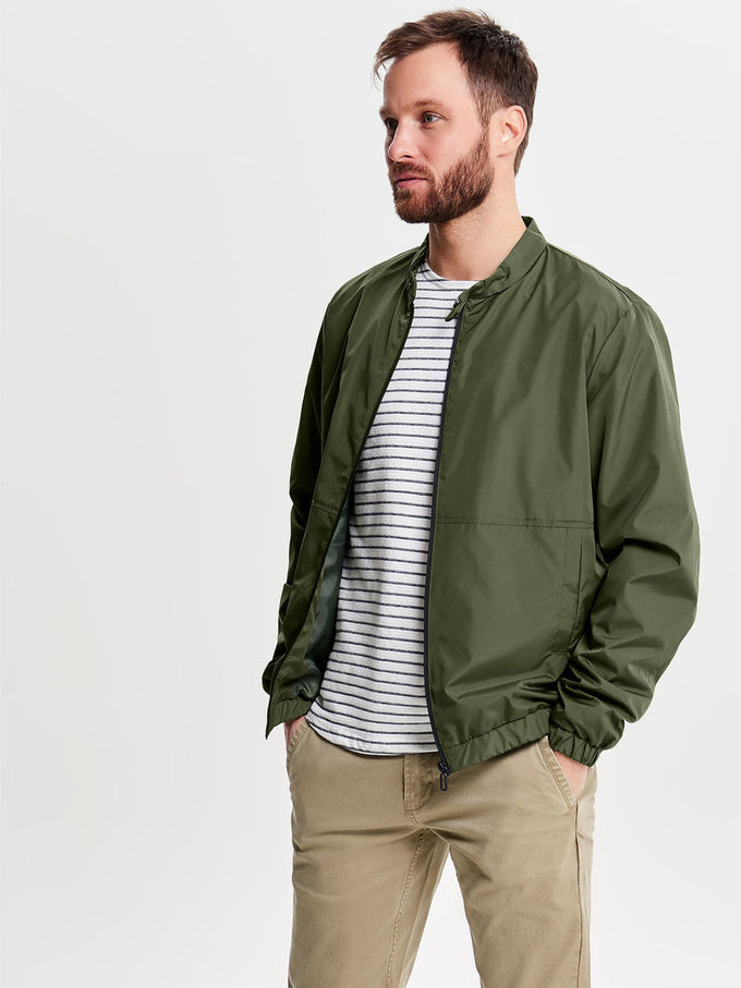 BOMBER JACKET WITH HYBRID COLLAR OLIVE NIGHT
