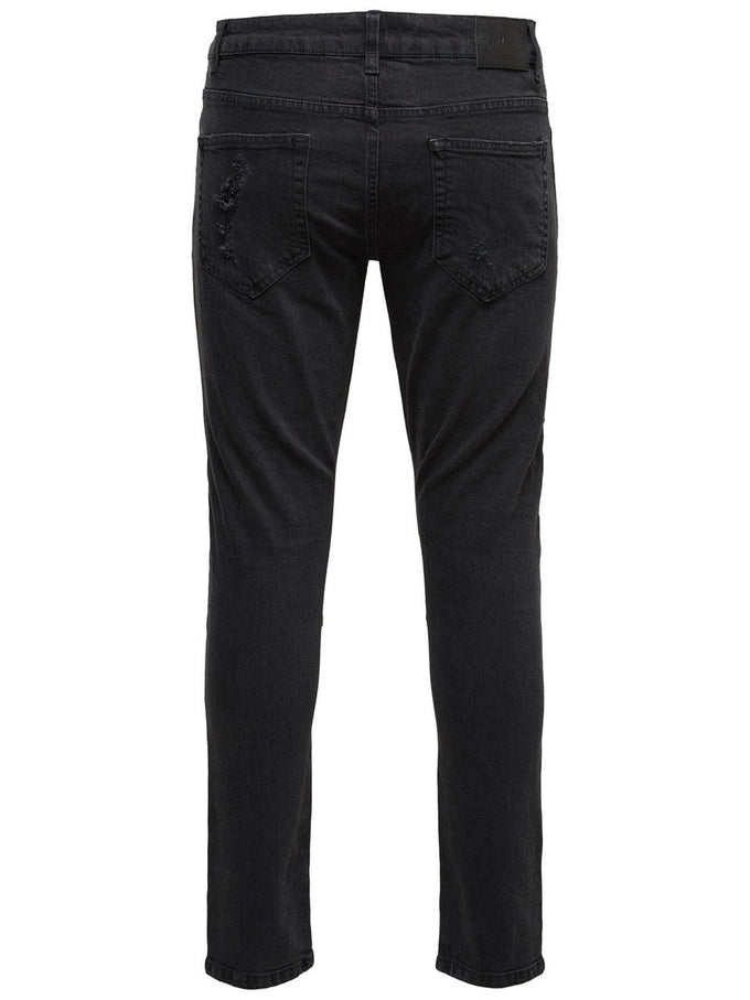 SLIM FIT RIP DETAILS BIKER BLACK JEANS BLACK DENIM