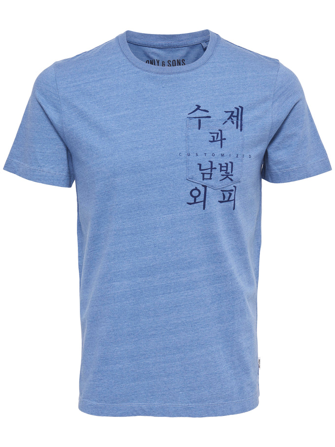 ASIA INSPIRED POCKET T-SHIRT LIGHT BLUE DENIM