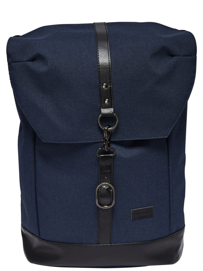 BACKPACK WITH LEATHER DETAILS DARK SAPPHIRE