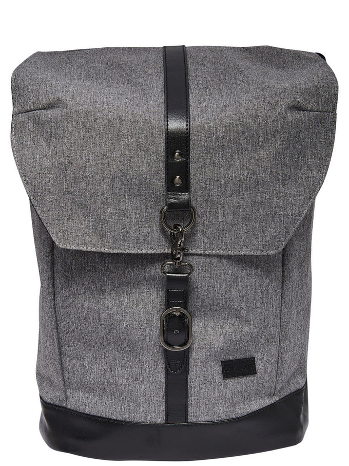 BACKPACK WITH LEATHER DETAILS MEDIUM GREY MELANGE