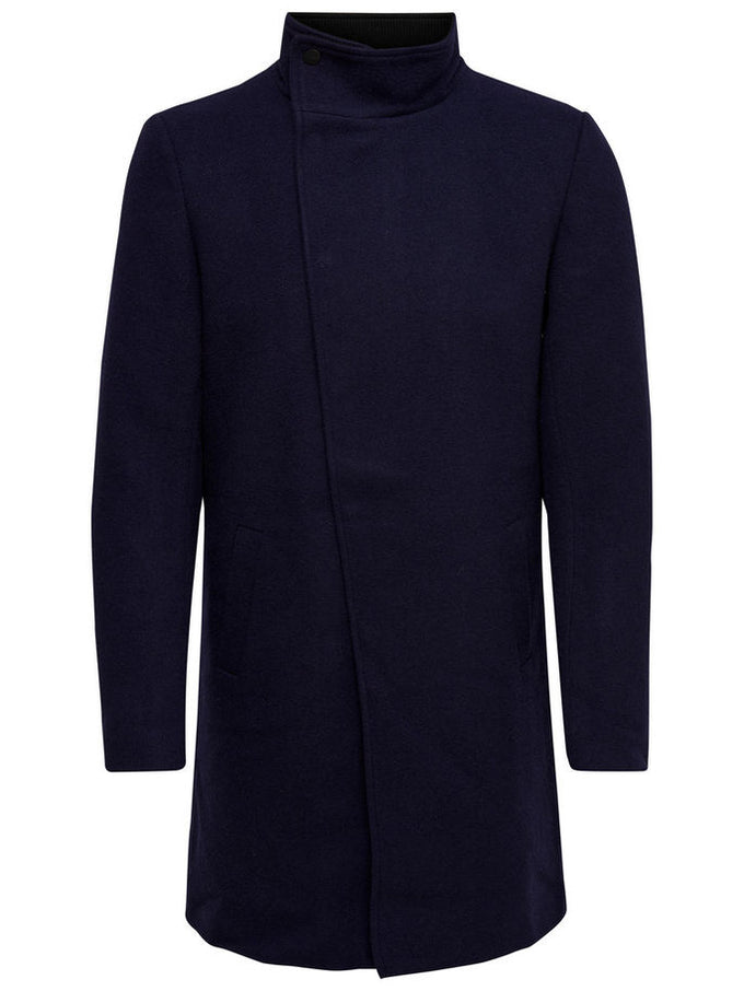 ASYMMETRIC WOOL COAT MARITIME BLUE