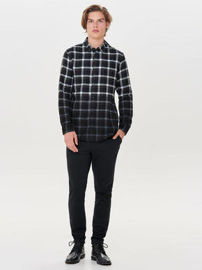 DIP DYED CHECKERED FLANNEL SHIRT