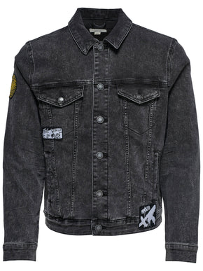 FINAL SALE - BLACK JEAN JACKET WITH BADGES