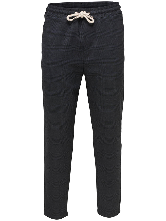 JOGGER STYLE PRINCE OF WALES PANTS BLUE NIGHTS