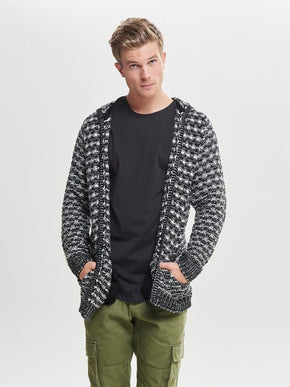 HEAVY KNIT HOODED CARDIGAN