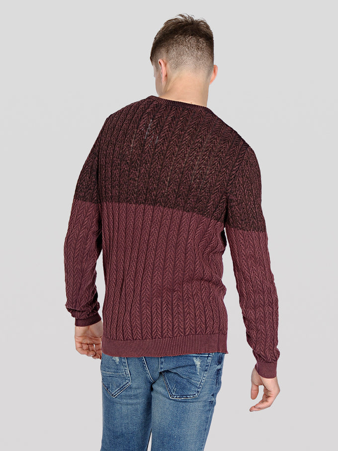 CABLE KNIT GRADIENT STYLE SWEATER FUDGE