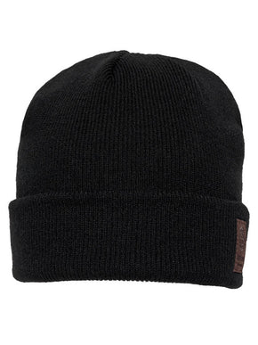 ROLL UP BEANIE WITH LEATHER LOGO