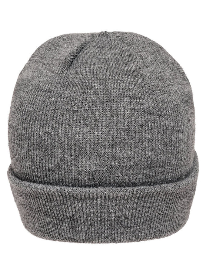 ROLL UP BEANIE WITH LEATHER LOGO MEDIUM GREY MELANGE
