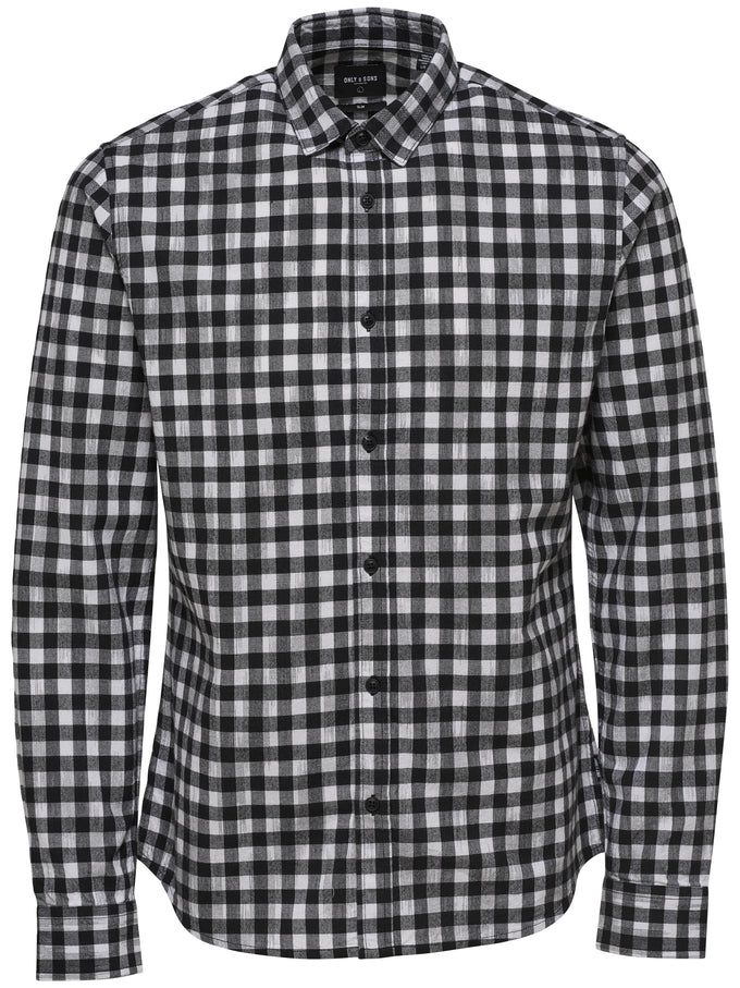 FINAL SALE - SLIM FIT SHIRT WITH FADED CHECKS BLACK