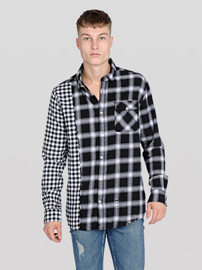 MIXED CHECKS SHIRT WITH USED DETAILS