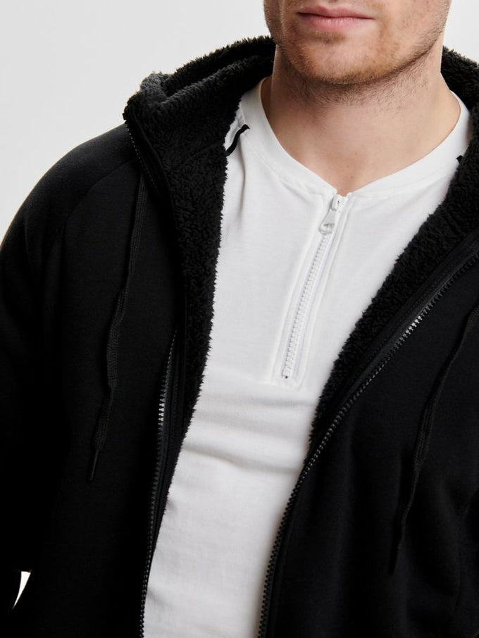 ZIP-UP HOODIE WITH TEDDY LINING BLACK