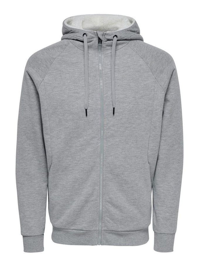ZIP-UP HOODIE WITH TEDDY LINING LIGHT GREY MELANGE
