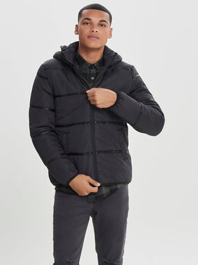 FINAL SALE - PUFFER JACKET WITH REMOVABLE HOOD