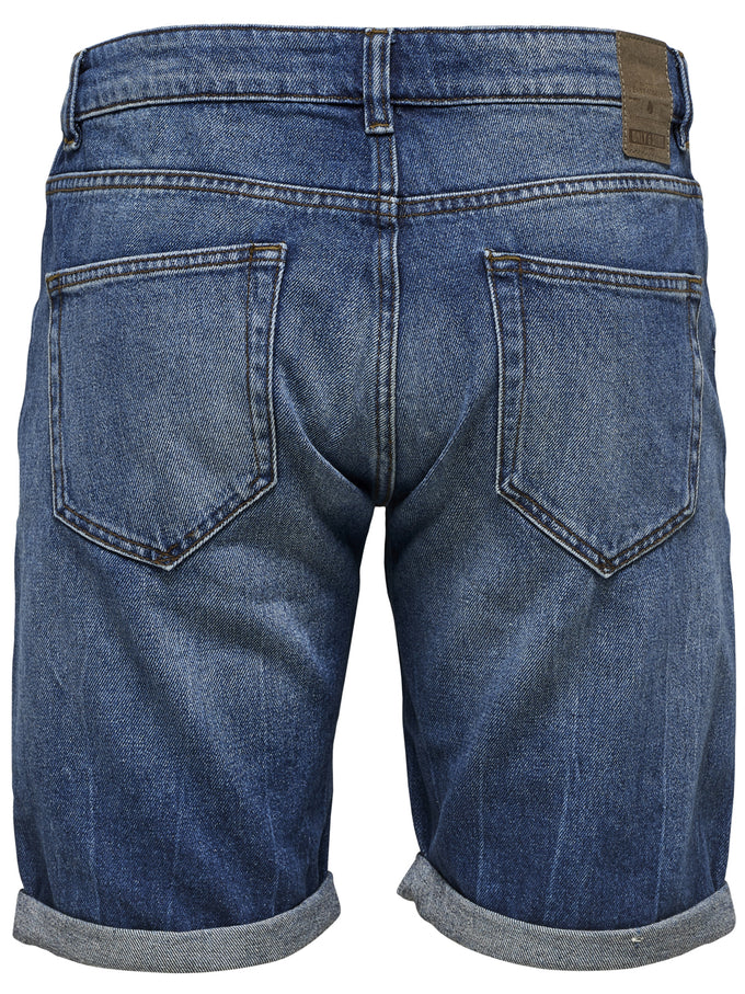 DARK BLUE DENIM SHORTS BLUE DENIM