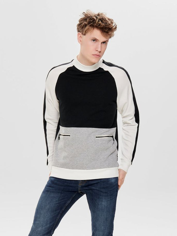 HIGH-NECK SWEATSHIRT WITH POCKETS BLACK
