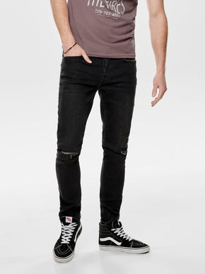 FINAL SALE - SLIM FIT JEANS WITH OPEN KNEES