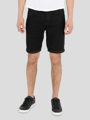 CLASSIC BLACK DENIM STRETCH SHORTS