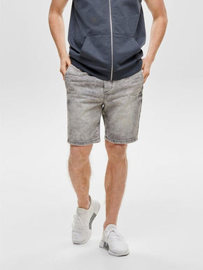 GREY DENIM SHORTS WITH AN ELASTIC WAISTBAND