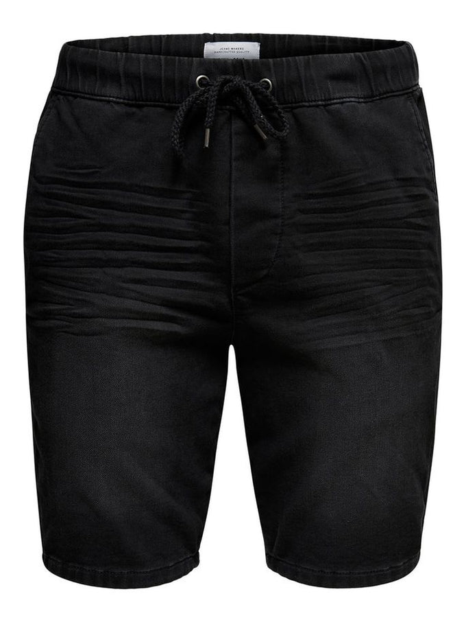 BLACK DENIM SHORTS WITH AN ELASTIC WAISTBAND BLACK DENIM