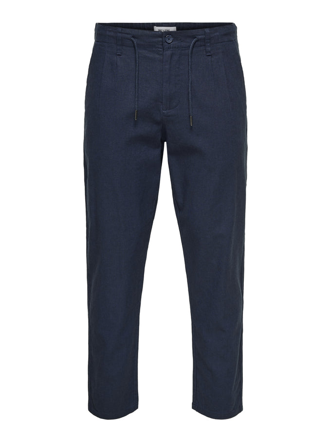 LEO LINEN PANTS DRESS BLUES