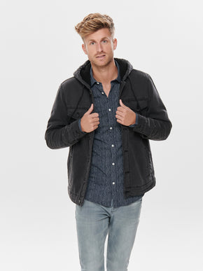 HOODED DENIM JACKET WITH SHERPA LINING