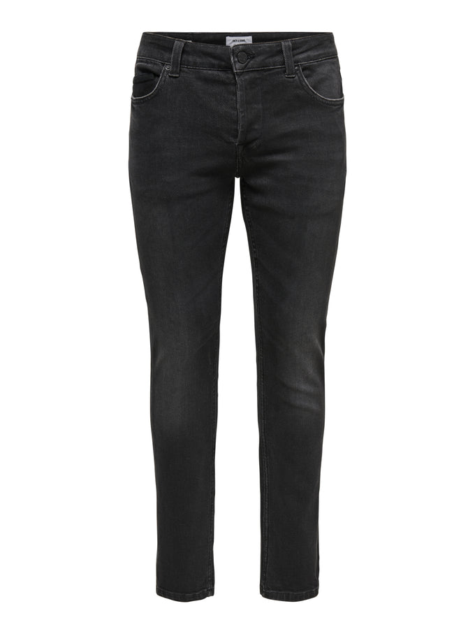 LOOM 4340 BLACK WASHED SLIM FIT JEANS BLACK DENIM
