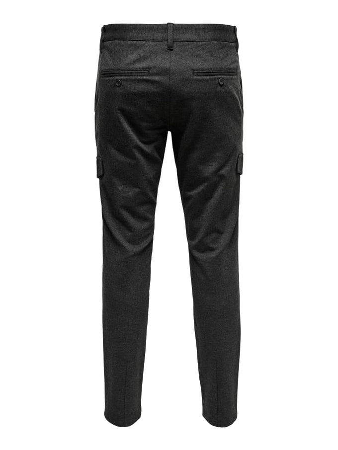 STRETCHY CARGO MARK PANTS DARK GREY MELANGE
