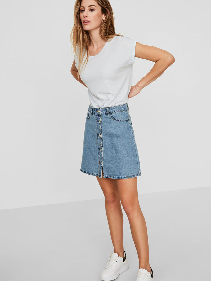 6653f6d2f SHORT DENIM SKATER SKIRT LIGHT BLUE DENIM