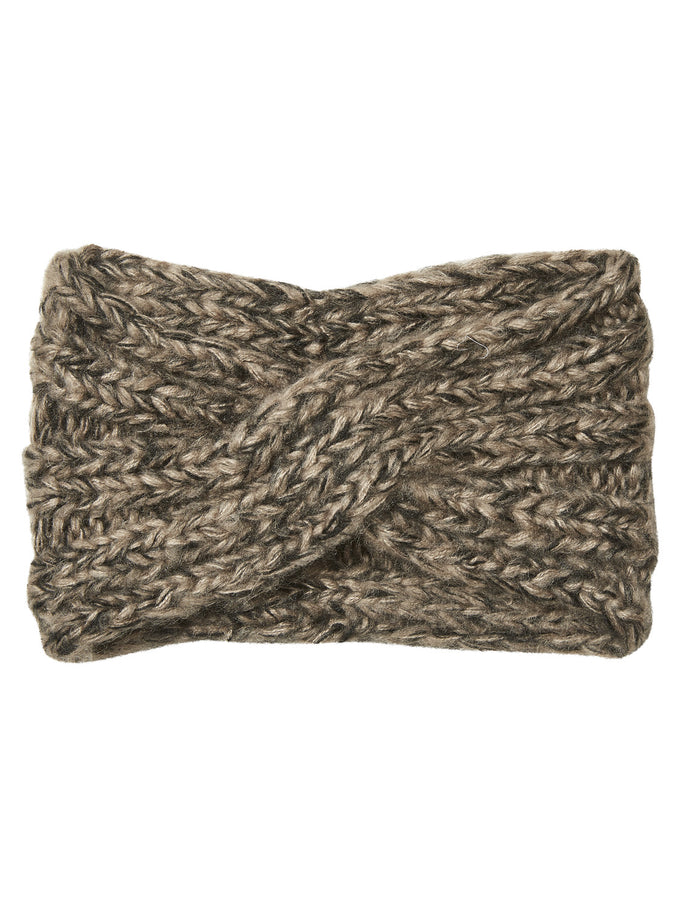 CHUNKY KNITTED HEADBAND TAUPE GRAY