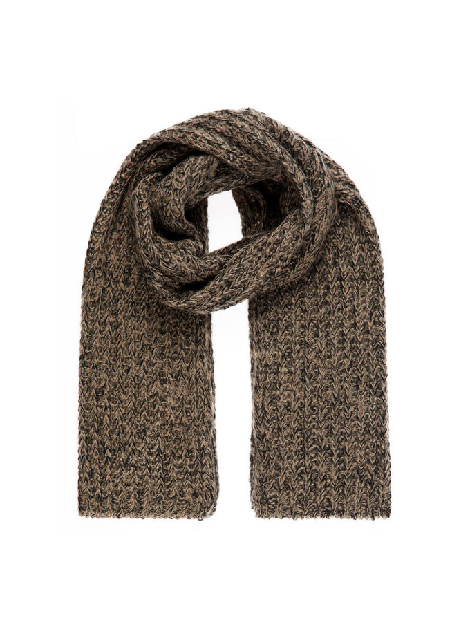 CHUNKY COLOURFUL SCARF TAUPE GREY