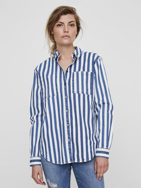 Oversized Denim Striped Shirt