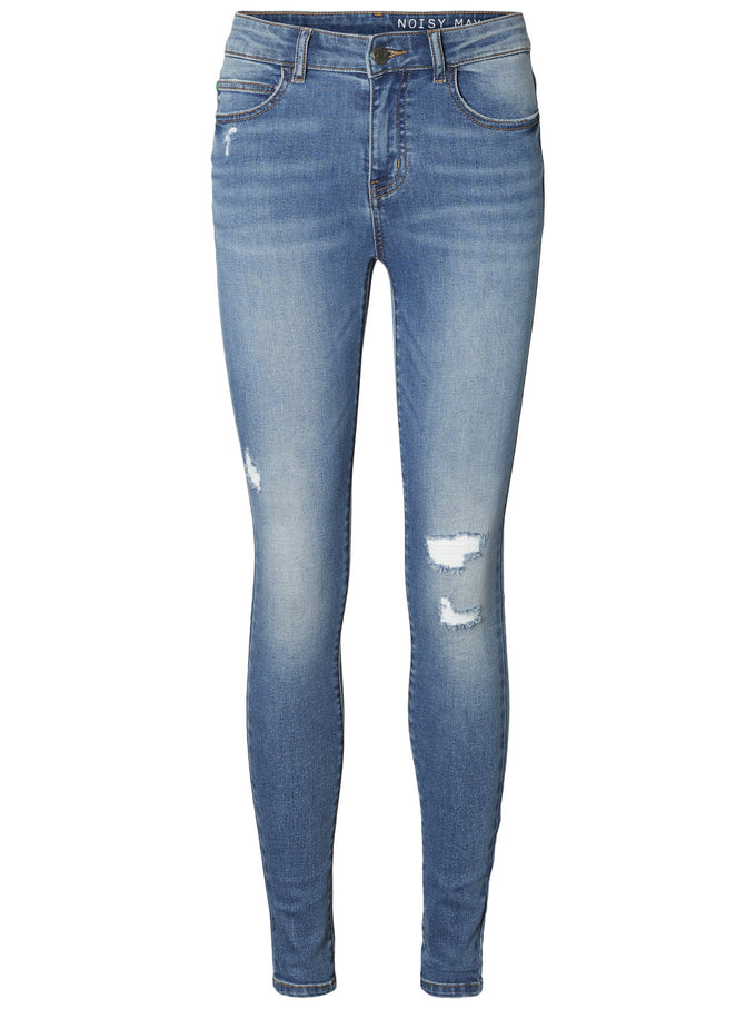 NMLUCY COFFEE SKINNY FIT DESTROYED JEANS LIGHT BLUE DENIM