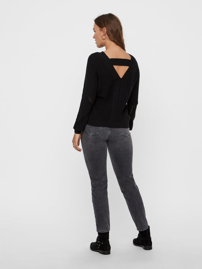 SWEATER WITH A BACK DETAIL BLACK