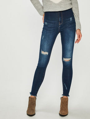 NMELLA HIGH WAIST SLIM FIT JEANS WITH RAW EDGES