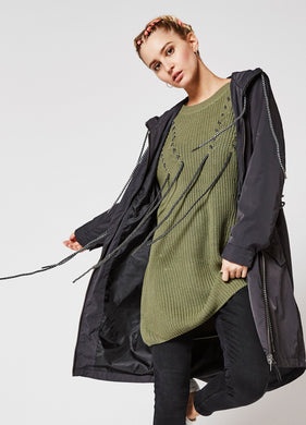 LONG SWEATER WITH CORD DETAILING