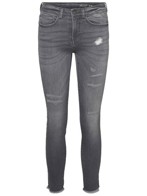 NMLUCY SKINNY FIT DISTRESSED GREY JEANS