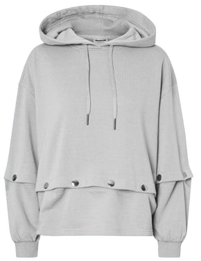 LOOSE HOODIE WITH BUTTON DETAILS