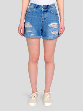 FINAL SALE – HIGH WAIST DESTROYED DENIM MOM SHORTS
