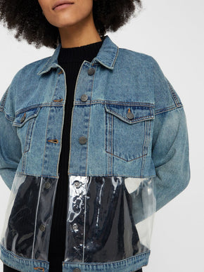 DENIM JACKET WITH PLASTIC DETAILS