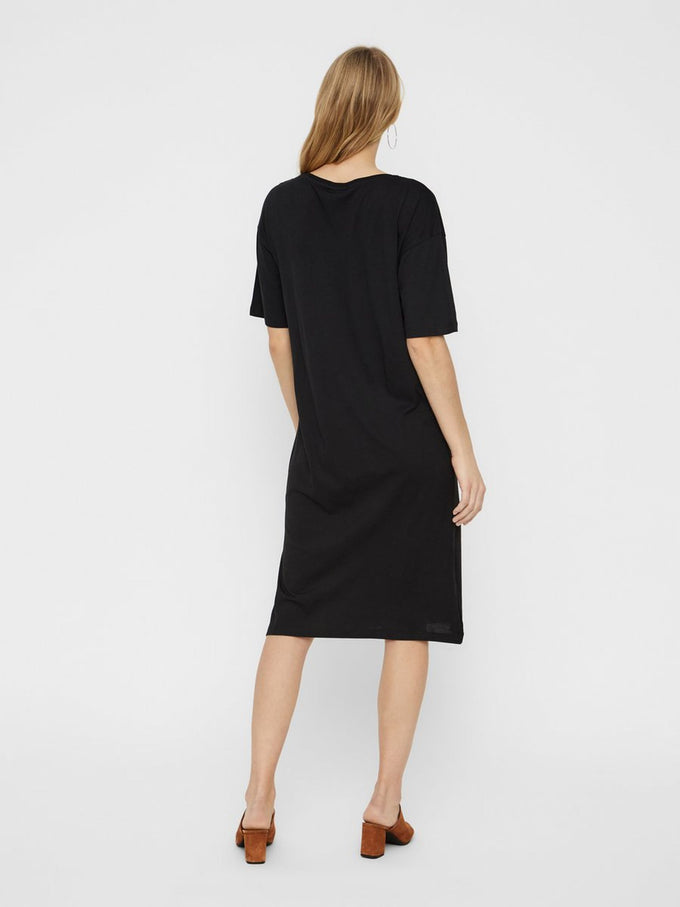 MODAL-BLEND T-SHIRT-DRESS DEEP BLACK
