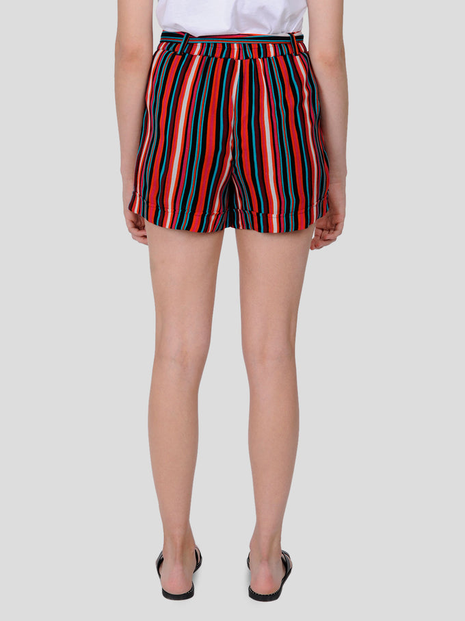 FINAL SALE - FLUID STRIPED SHORTS MANDARIN RED