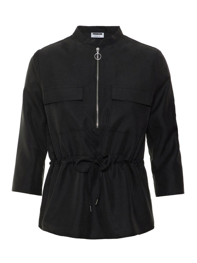 LYOCELL BLOUSE WITH ZIPPER DETAIL BLACK