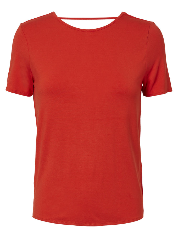 SUPER SOFT T-SHIRT WITH AN OPEN BACK FLAME SCARLET
