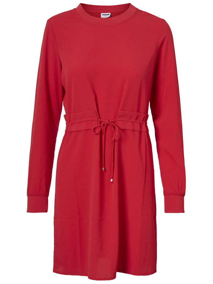 LONG SLEEVE CREPE DRESS CHINESE RED