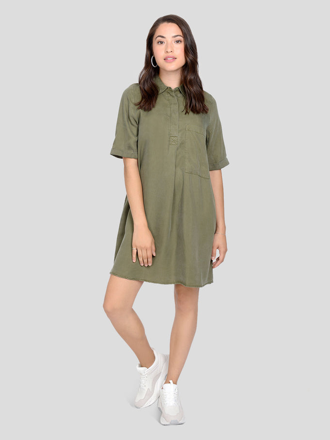 LOOSE LYOCELL DRESS WINTER MOSS