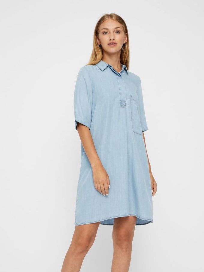 LOOSE LYOCELL DRESS LIGHT BLUE DENIM