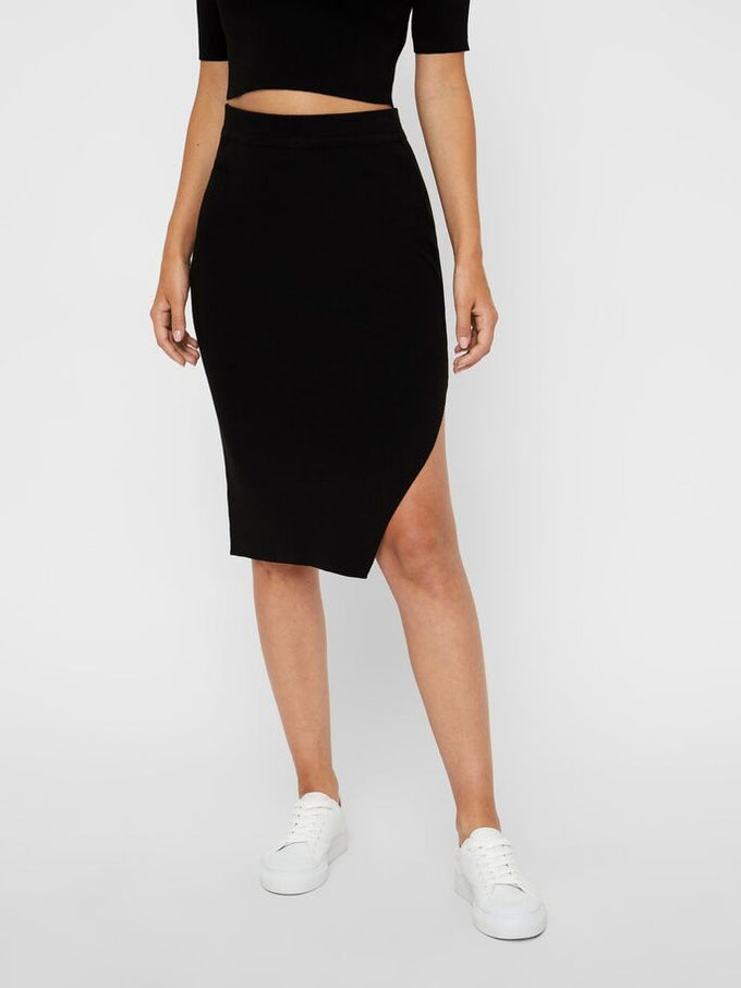 KNITTED PENCIL SKIRT BLACK