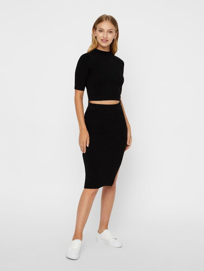 High Waist Knit Pencil Skirt BLACK