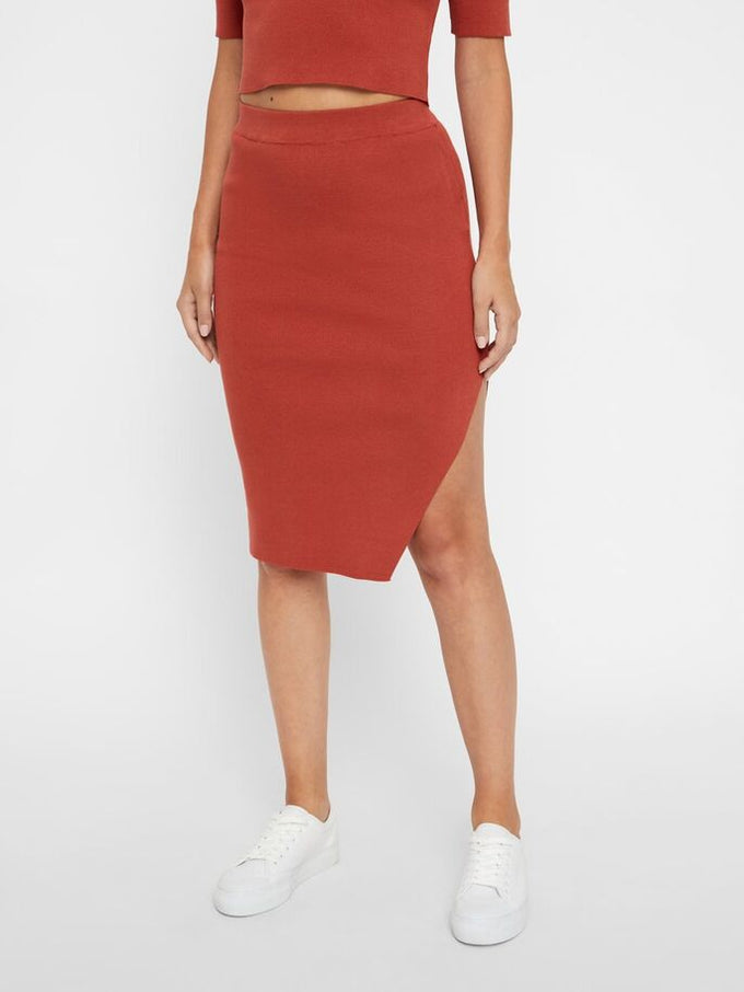 KNITTED PENCIL SKIRT TANDORI SPICE